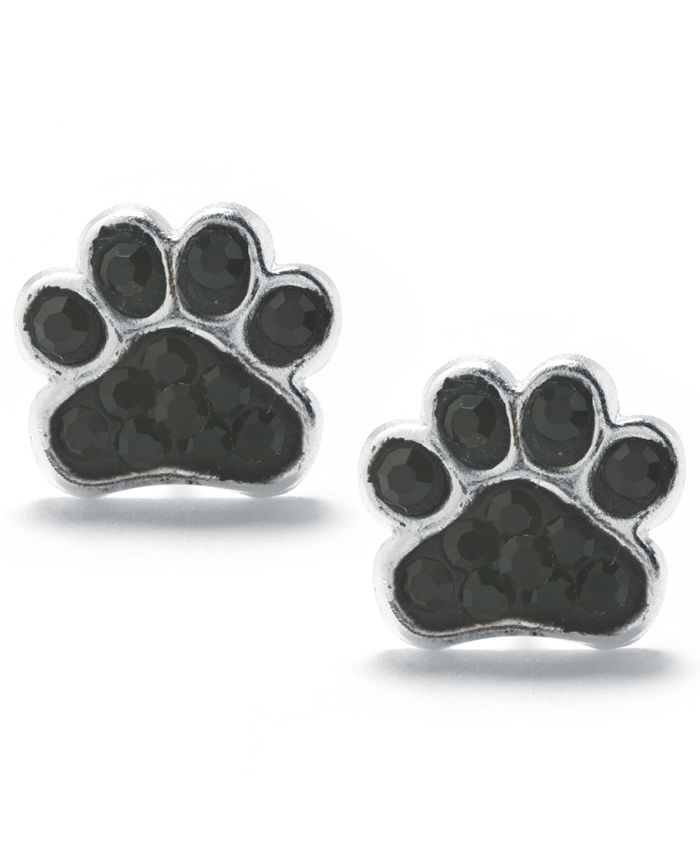 Giani Bernini - Black Pave Crystal Dog Paw Stud Earrings set in Sterling Silver
