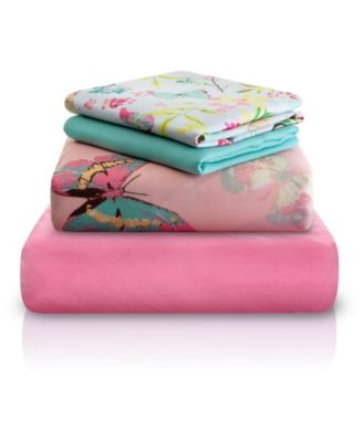 Pink Decorative Butterfly Print Double-Brushed Microfiber 4 Piece Full Sheet Set