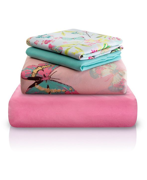 Chital Pink Decorative Butterfly Print Double-Brushed Microfiber 4 Piece Full Sheet Set