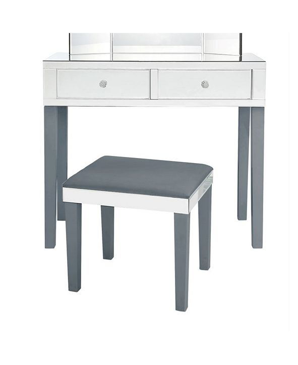 INSPIRED HOME Juliet Mirrored Vanity and Stool Set
