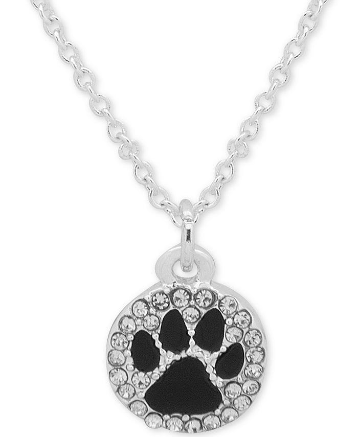 Pet Friends Jewelry - Silver-Tone Black Paw Pavé Pendant Necklace