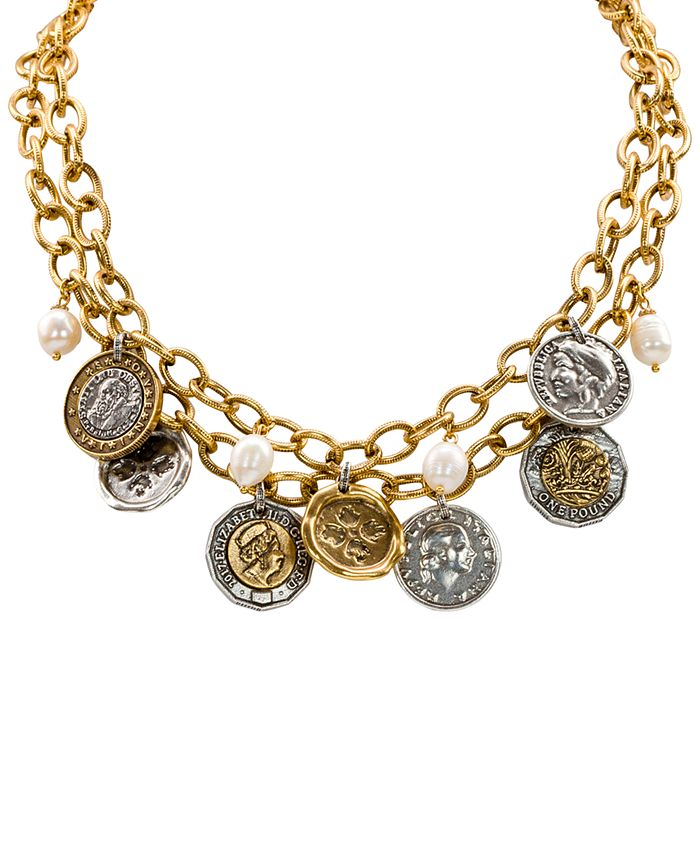 """Patricia Nash - Two-Tone World Coin & Freshwater Pearl (9mm) 18"""" Double-Row Statement Necklace"""