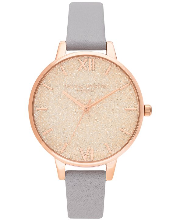 Olivia Burton Women's Gray Lilac Leather Strap Watch 34mm