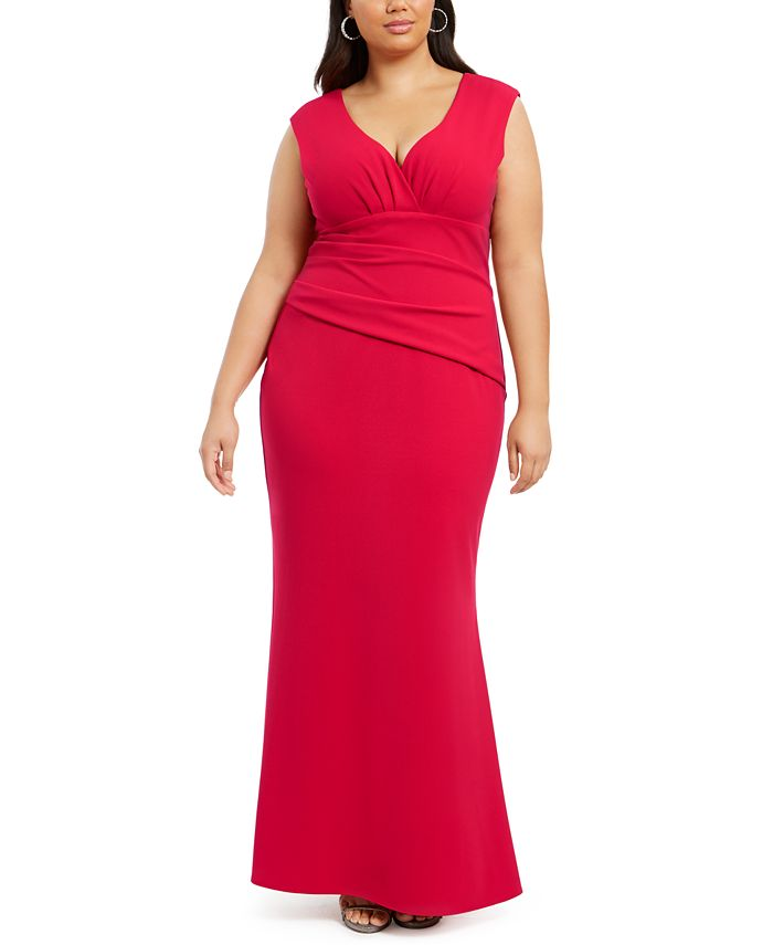 Betsy & Adam - Plus Size Ruched Gown