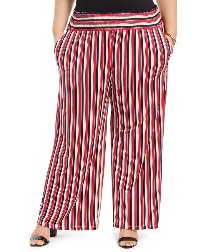 NY Collection - Plus Size Printed Smocked-Waist Pants