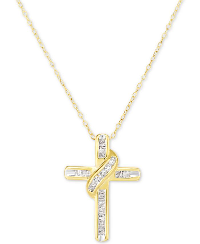 """Macy's - Diamond Cross 18"""" Pendant Necklace (1/4 ct. t.w.) in 14k Gold-Plated Sterling Silver"""