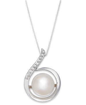 14k White Gold Necklace, Cultured Freshwater Pearl (11mm) and Diamond (1/10 ct. t.w.) Swirl Pendant