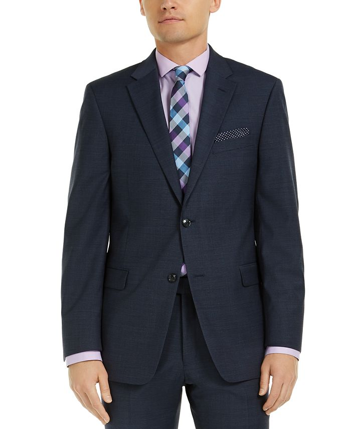 Tommy Hilfiger - Men's Modern-Fit Navy Mini Grid THFlex Suit Jacket