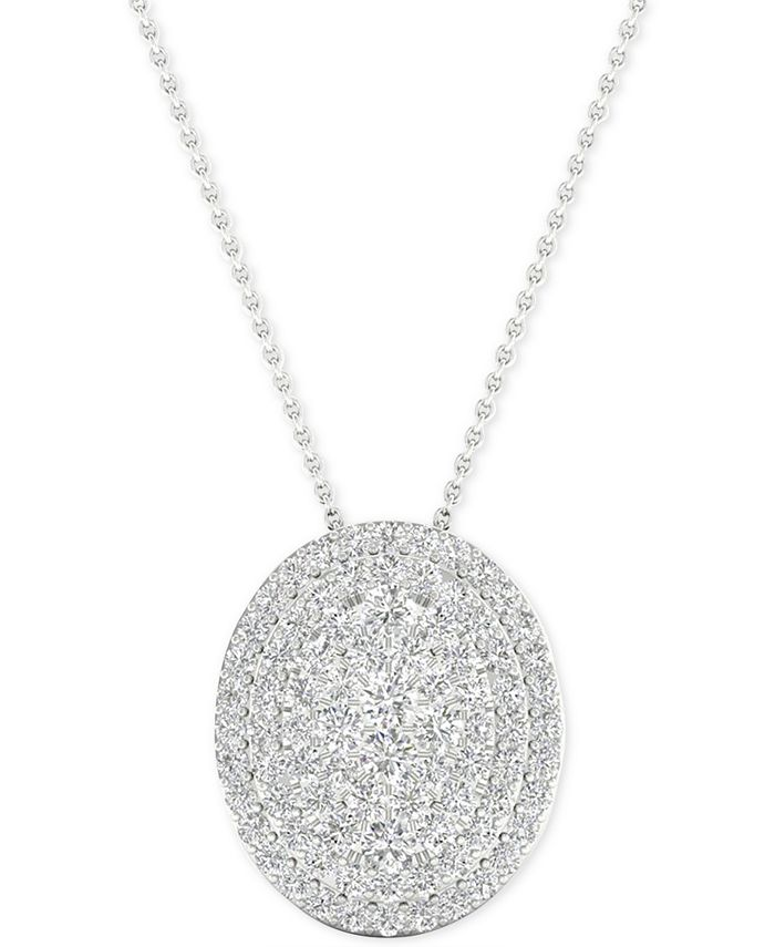 "Macy's - Diamond Oval Cluster Pendant Necklace (1/2 ct. t.w.) in Sterling Silver, 16"" + 2"" extender"
