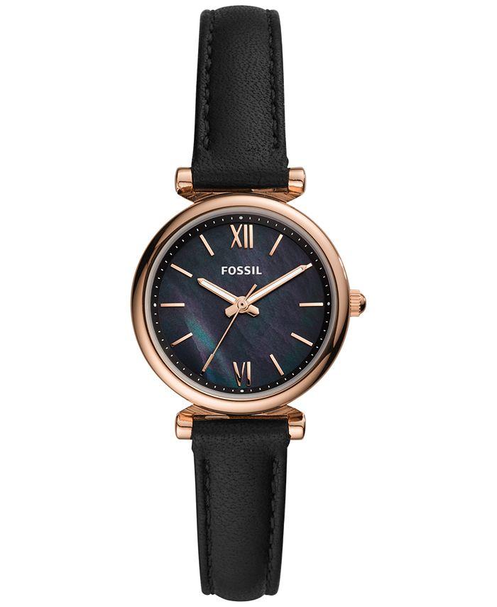 Fossil - Women's Carlie Mini Black Leather Strap Watch 28mm