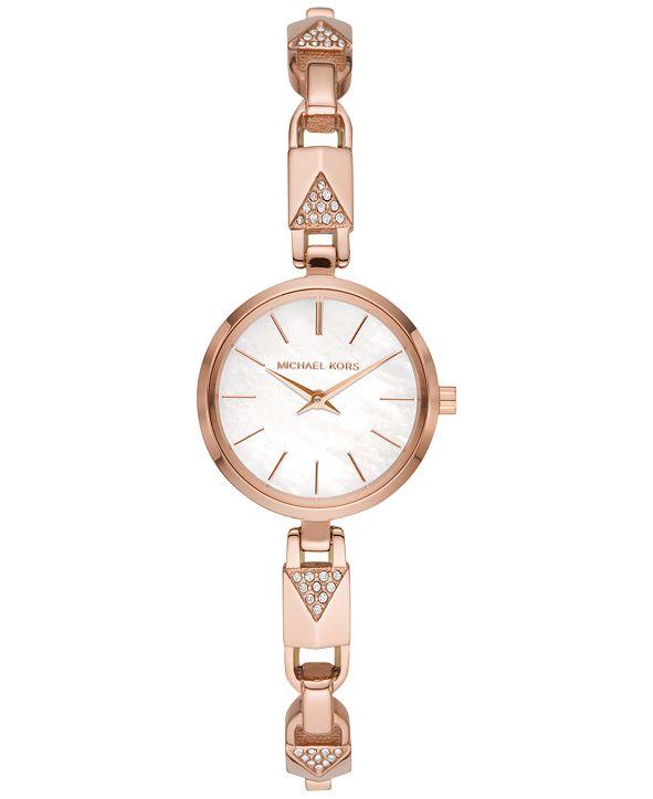 Michael Kors Women's Petite Jaryn Rose Gold-Tone Stainless Steel Mercer Lock Bangle Bracelet Watch 24mm