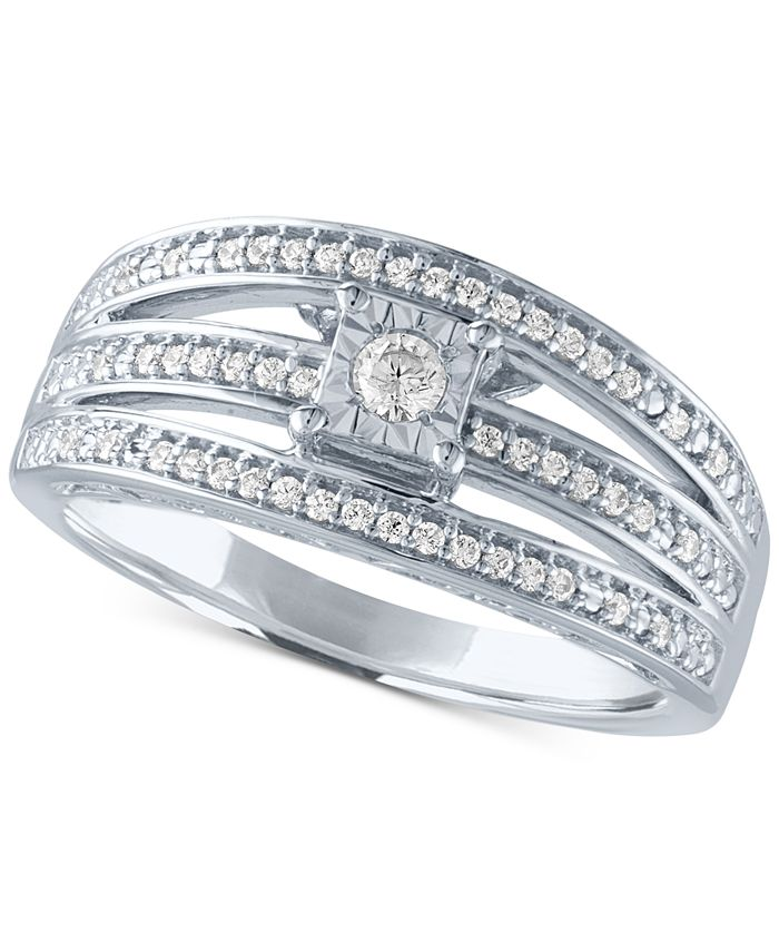 Macy's - Diamond Multi-Row Promise Ring (1/4 ct. t.w.) in Sterling Silver