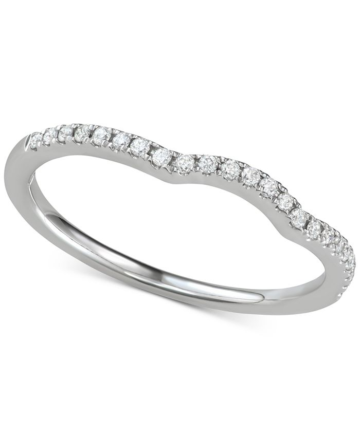 Macy's - Diamond Curved Band (1/6 ct. t.w.) in 14k White Gold