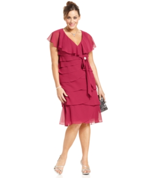 Alex Evenings Plus Size Dress, Cap-Sleeve Tiered