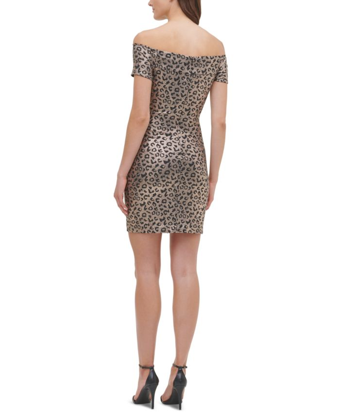 GUESS Off-The-Shoulder Animal-Print Dress & Reviews - Dresses - Women - Macy's