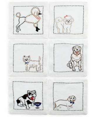 Kim Seybert Table Linens, Set of 6 Pet Dog Cocktail Napkins