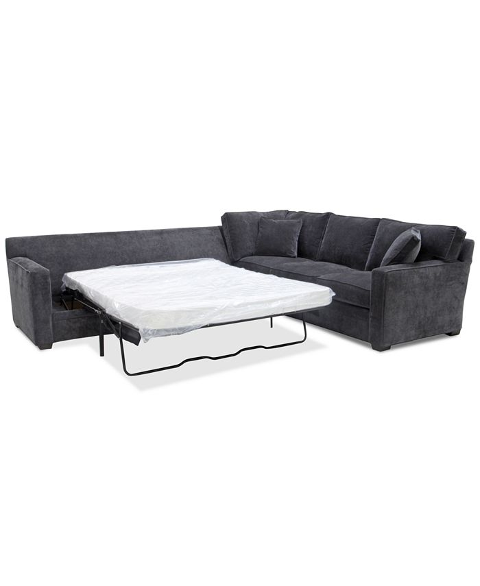 Furniture - Brekton 2-Pc. Fabric Sofa Return with Queen Sleeper