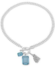 """Lauren Ralph Lauren Stone & Chain Tassel 17"""" Pendant Necklace"""