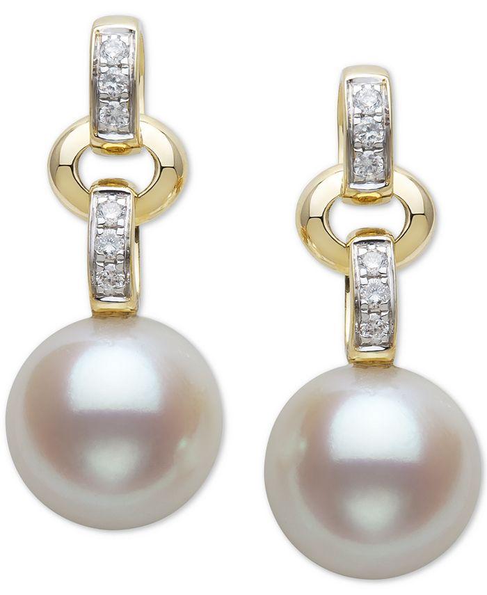 Belle de Mer - Belle De Mer Cultured Freshwater Pearl (9mm) & Diamond (1/10 ct. t.w.) Drop Earrings in 14k Gold