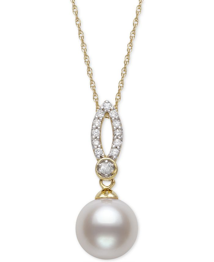 "Belle de Mer - Cultured Freshwater Pearl (9mm) & Diamond (1/8 ct. t.w.) 18"" Pendant Necklace in 14k Gold"