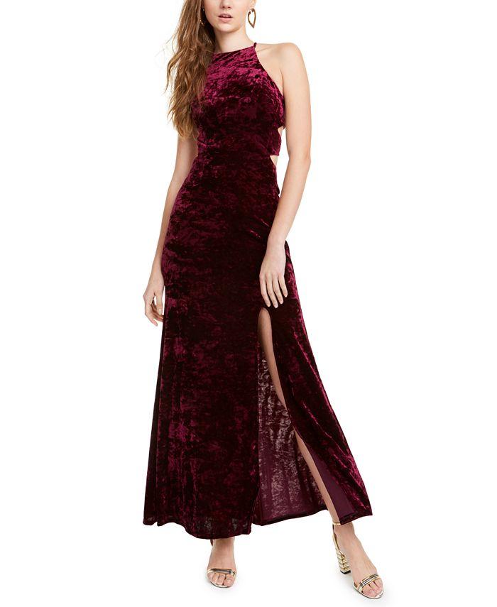 Morgan & Company - Juniors' Cutout Crushed Velvet Gown