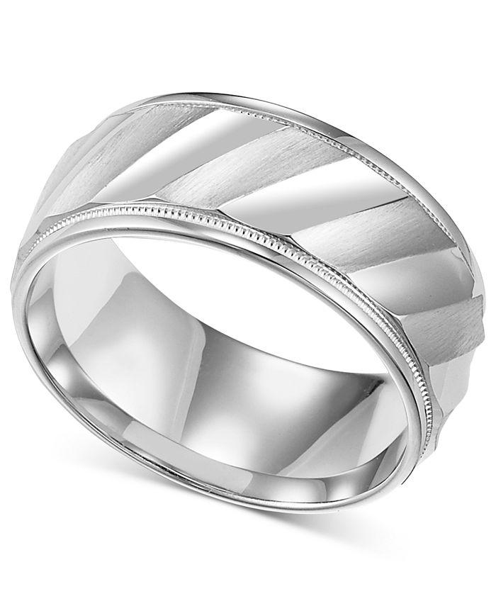 Macy's - Men's Sterling Silver Ring, Diagonal Stripe Wedding Band