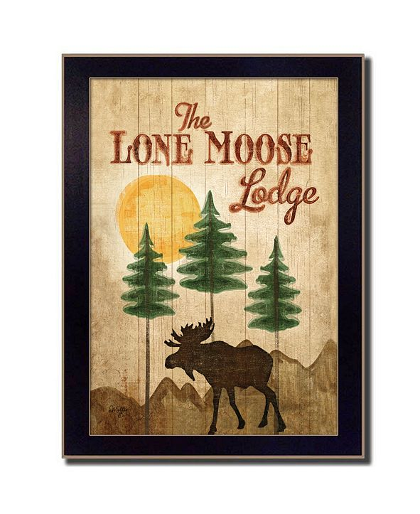 "Trendy Decor 4U Lone Moose By Mollie B., Printed Wall Art, Ready to hang, Black Frame, 10"" x 14"""