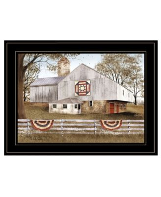 American Star Quilt Block Barn by Billy Jacobs, Ready to hang Framed Print, Black Frame, 19
