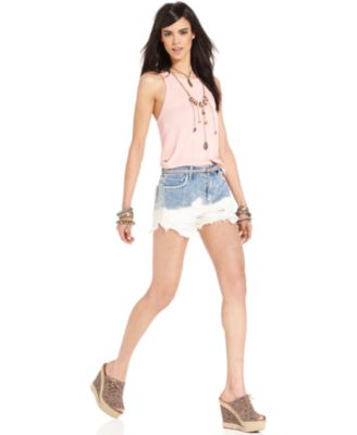 Free People Shorts, Denim Light-Wash Destroyed Crochet