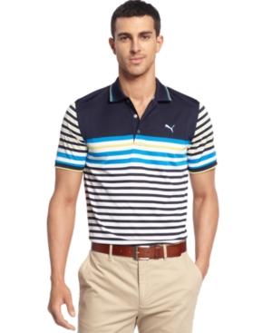 Puma coolCELL Shirt Tech Stripe Polo Golf Shirt