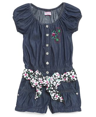 GUESS Kids Romper, Little Girls Belted Chambray Romper