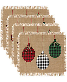 Elrene Farmhouse Living Holiday Rustic Ornaments Burlap Placemat, Set of 4