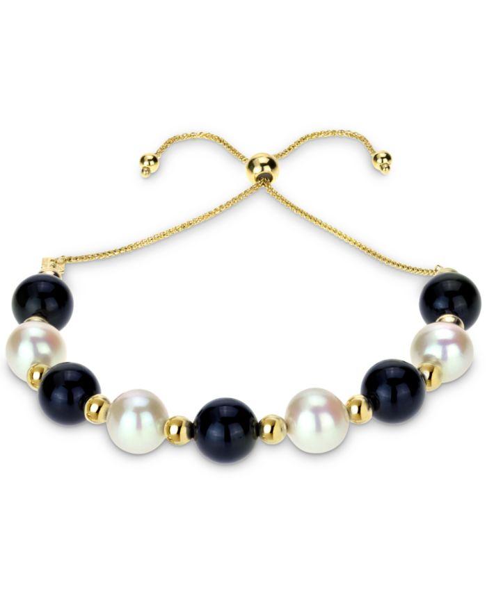 Macy's Cultured Freshwater Pearl (8mm) & Onyx (8mm) Beaded Bolo Bracelet in 14k Gold & Reviews - Bracelets - Jewelry & Watches - Macy's