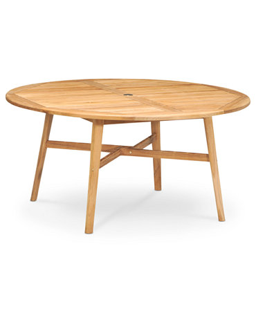 Princeton teak 60 outdoor round dining table furniture for Macys dining table