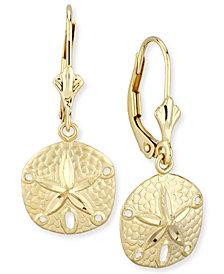 Sand Dollar Drop Earrings in 14k Gold