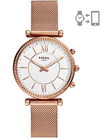 Fossil Women's Carlie Rose Gold-Tone Stainless Steel Mesh Bracelet Hybrid Smart Watch 36mm