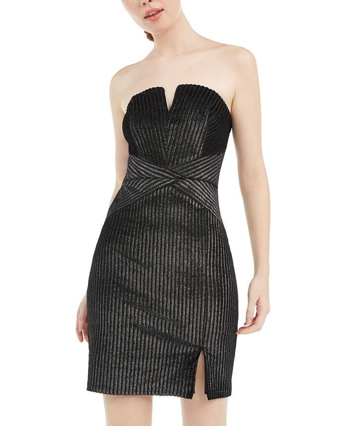 Trixxi - Juniors' Strapless Metallic-Stripe Bodycon Dress