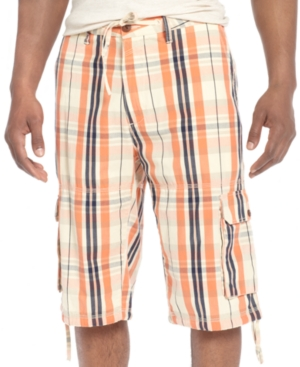 Sean John Shorts Plaid Cargo Shorts