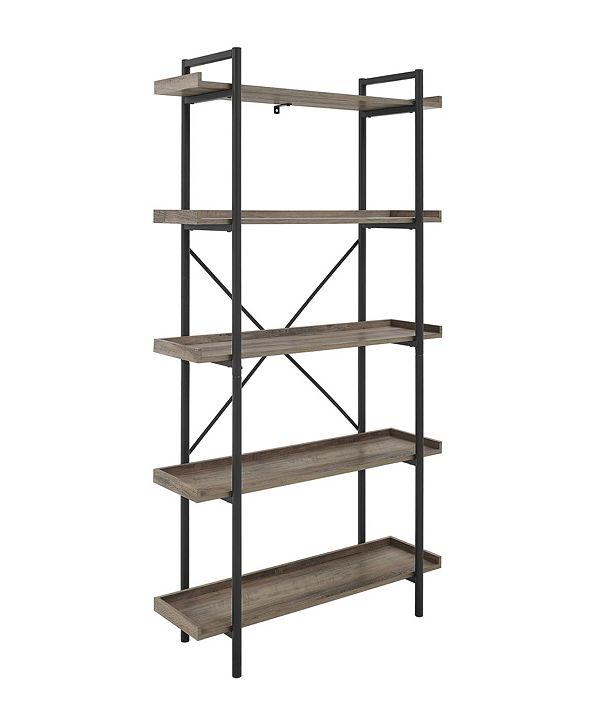 Walker Edison Industrial Metal Bookcase