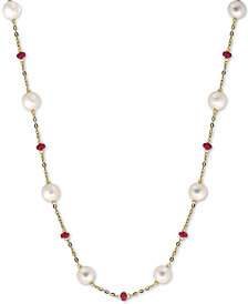 "EFFY® Cultured Freshwater Pearl (8mm) & Ruby (3-1/3 ct. t.w.) 18"" Statement Necklace in 14k Gold (Also in Sapphire)"