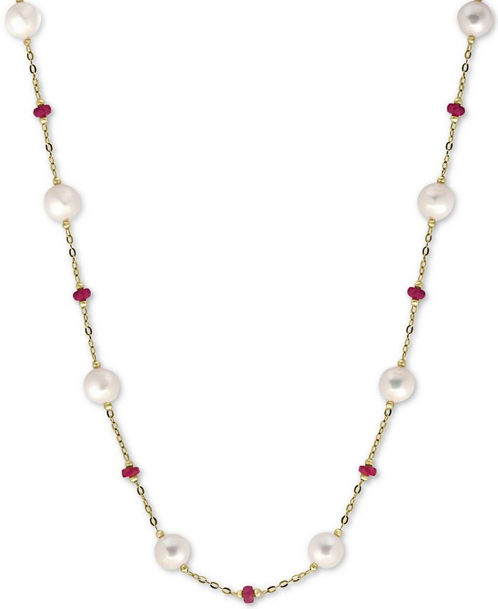"EFFY Collection - Cultured Freshwater Pearl (8mm) & Ruby (3-1/3 ct. t.w.) 18"" Statement Necklace in 14k Gold (Also in Sapphire)"