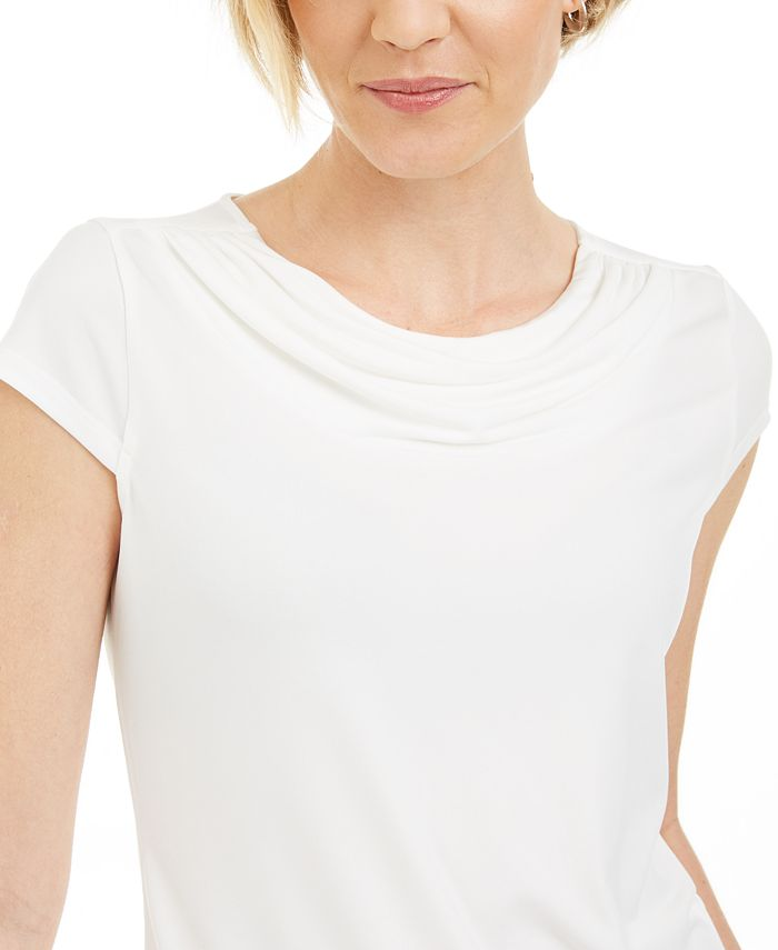 Kasper - Cowl-Neck Short-Sleeve Top