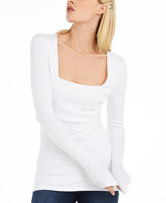 INC International Concepts - Square-Neck Ribbed Top