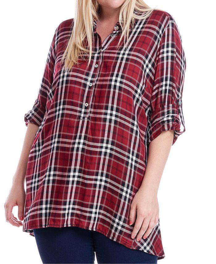 Fever - Plus Size Plaid Button-Up Shirt
