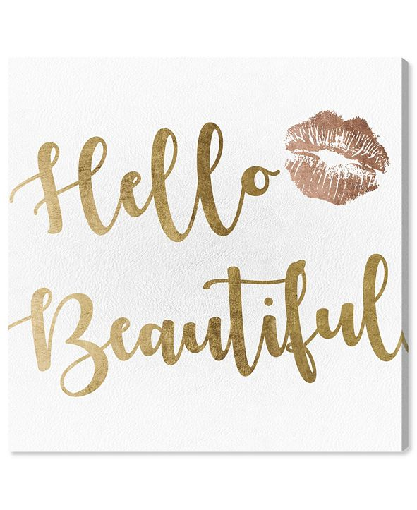 """Oliver Gal Hello Beautiful Gold and Leather Canvas Art, 24"""" x 24"""""""