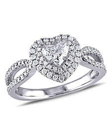 Certified Diamond (1 ct. t.w.) Double Halo Heart Engagement Ring in 14k White Gold