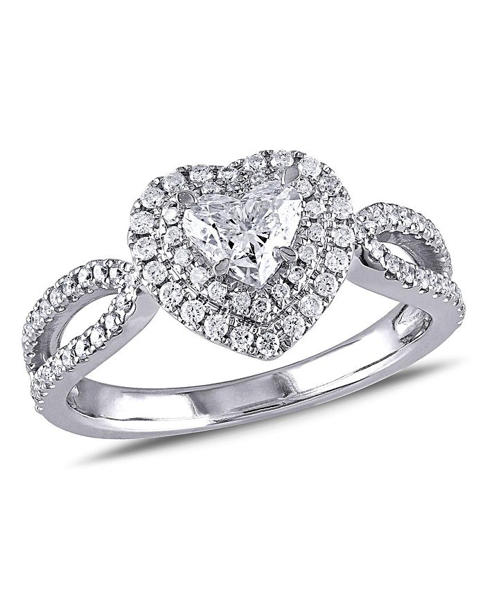 Macy's - Diamond (1 ct. t.w.) Double Halo Heart Engagement Ring in 14k White Gold
