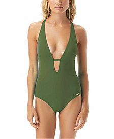 Vince Camuto Riviera Plunge Cheeky One-Piece Swimsuit