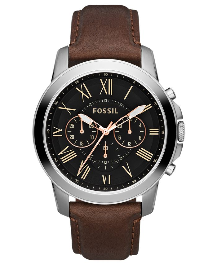 Fossil - Men's Chronograph Grant Brown Leather Strap Watch 44mm FS4813