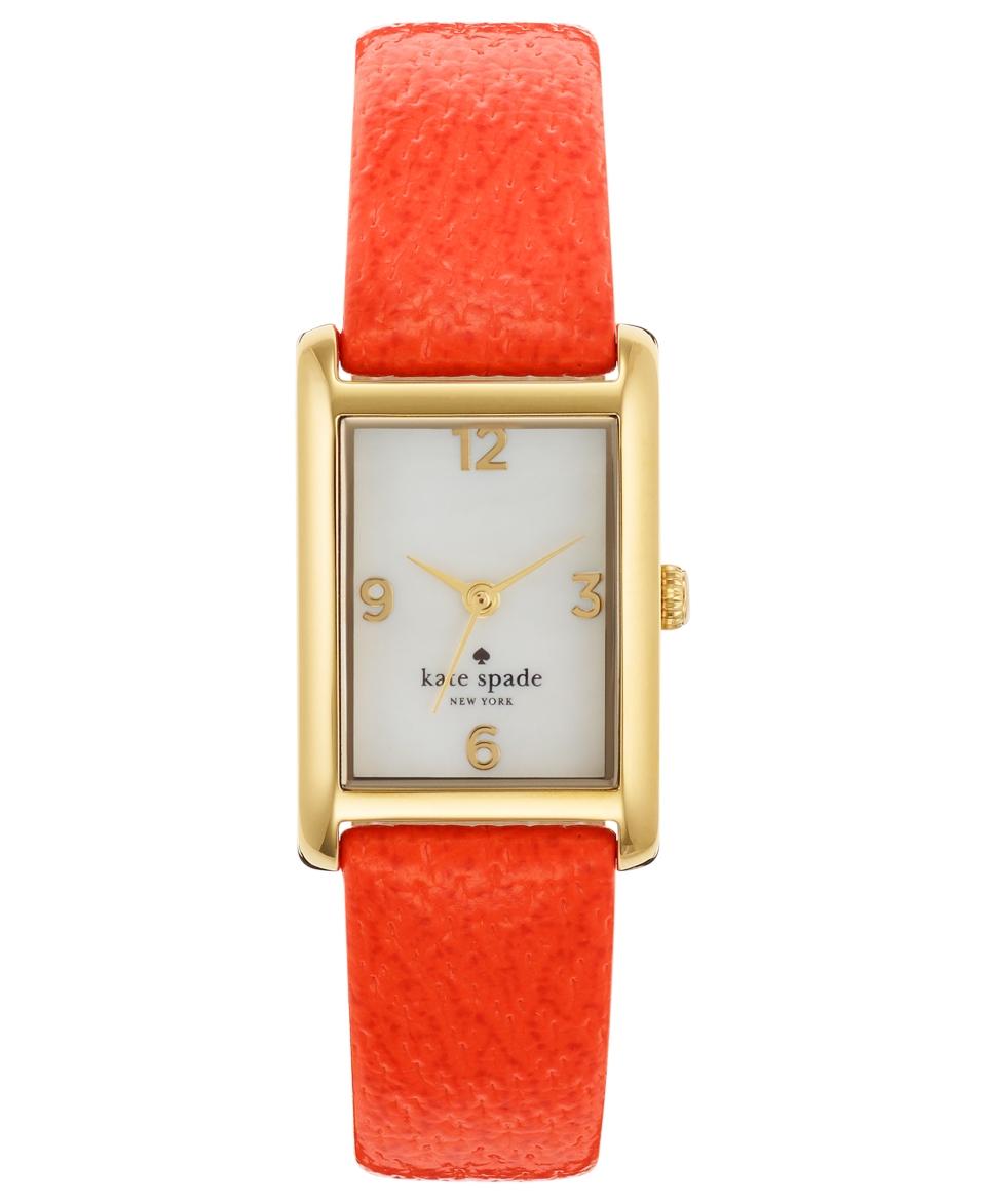 kate spade new york Watch, Womens Cooper Valencia Orange Leather Strap 32x21mm 1YRU0189   Watches   Jewelry & Watches